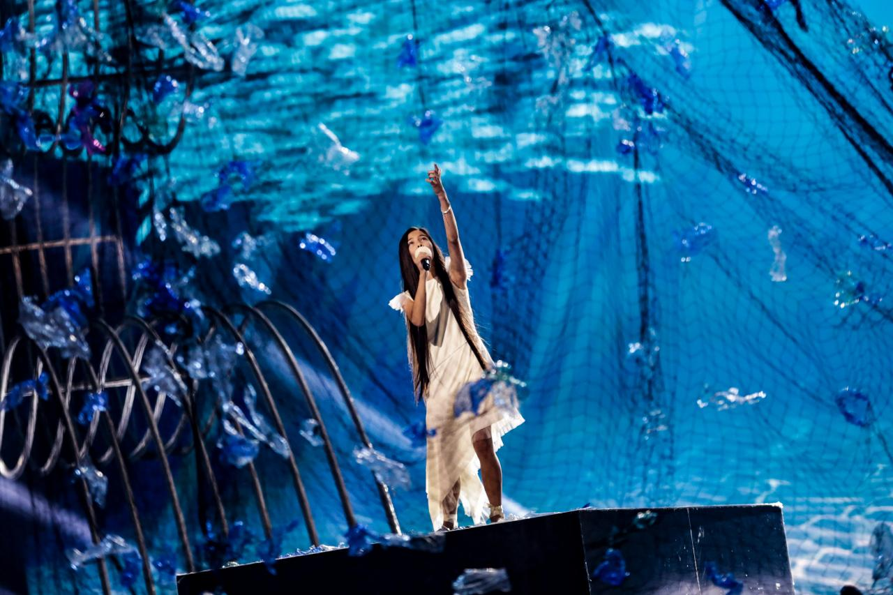Spain's Melani Garcia performing 'Marte' for the first time on stage in Poland